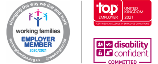 Working families Employer Member | Top Employer UK 2021 | disability confident Commited